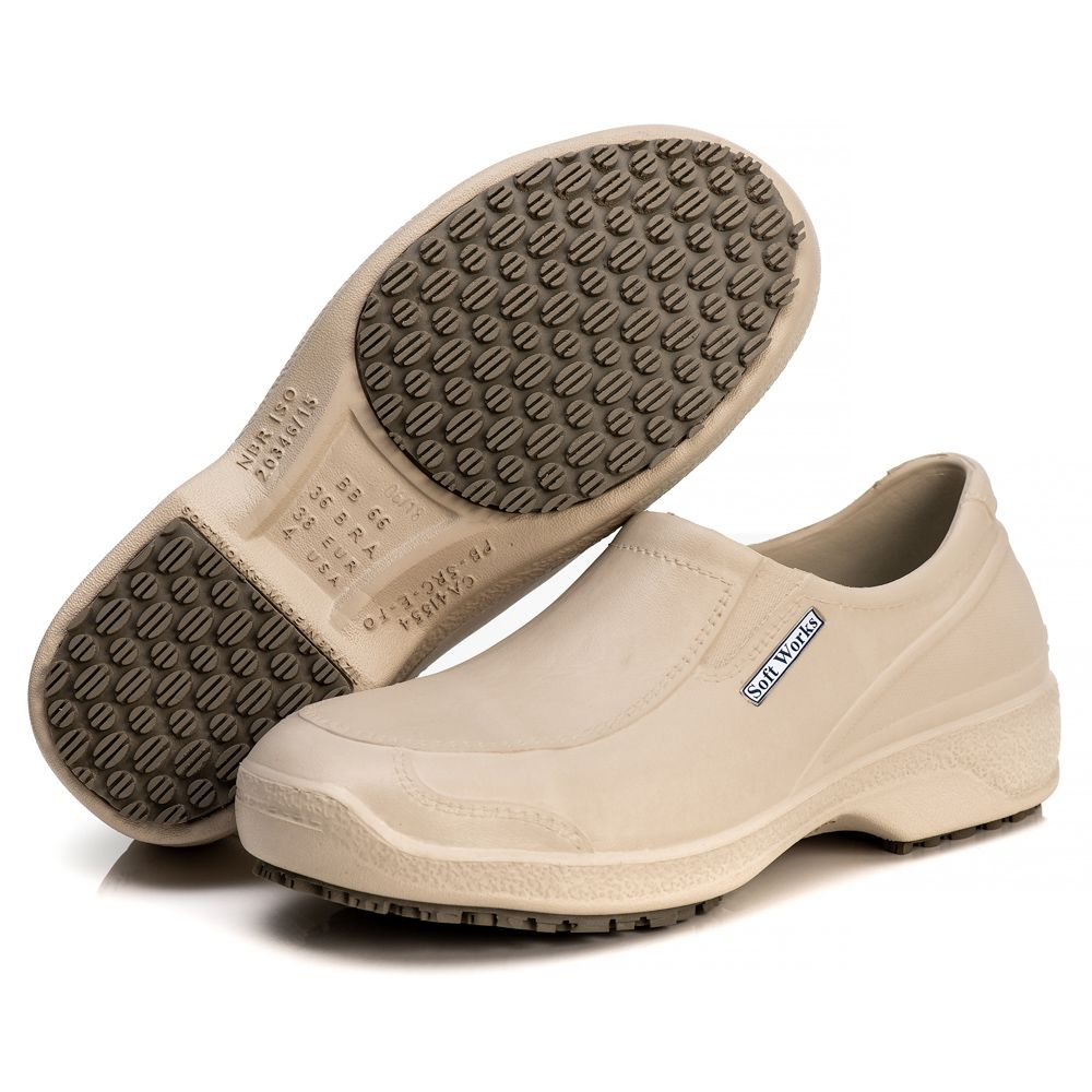 Sapato Antiderrapante Soft Works Com Biqueira Em Composite - Bege BB66