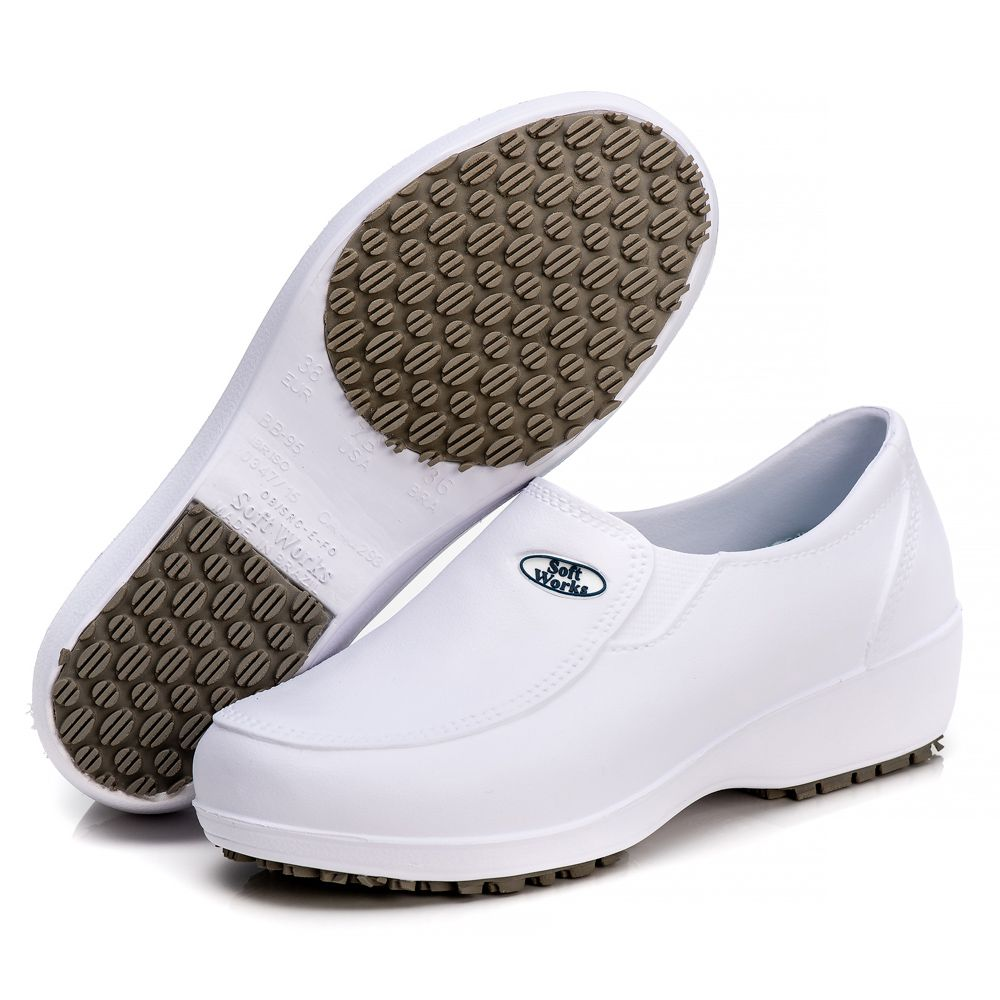 Sapato Soft Works Profissional Antiderrapante Com CA - Branco BB95