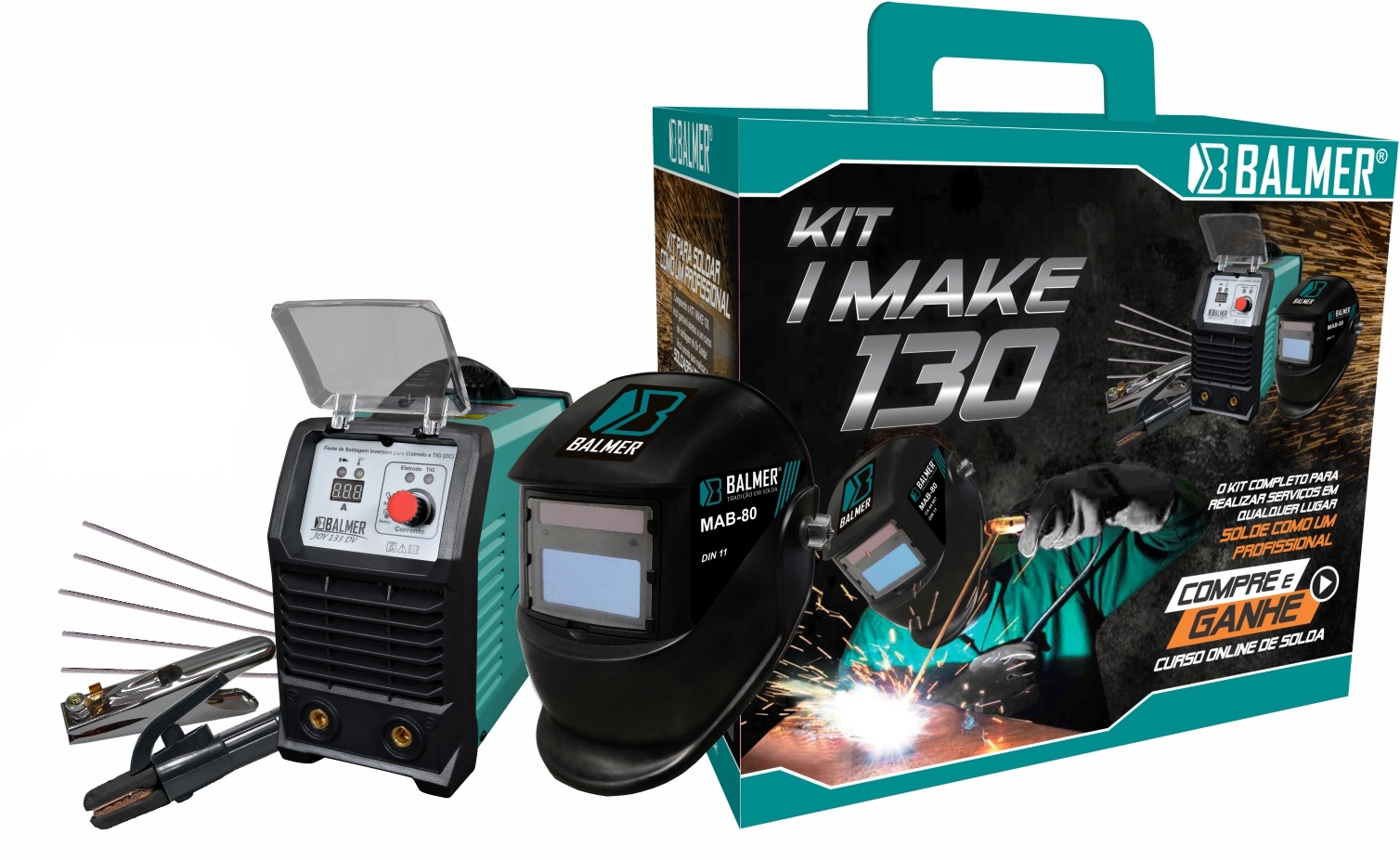 Combo Inversora de Solda JOY 133DV + Máscara MAB 80 KIT I-MAKE 130 - Balmer