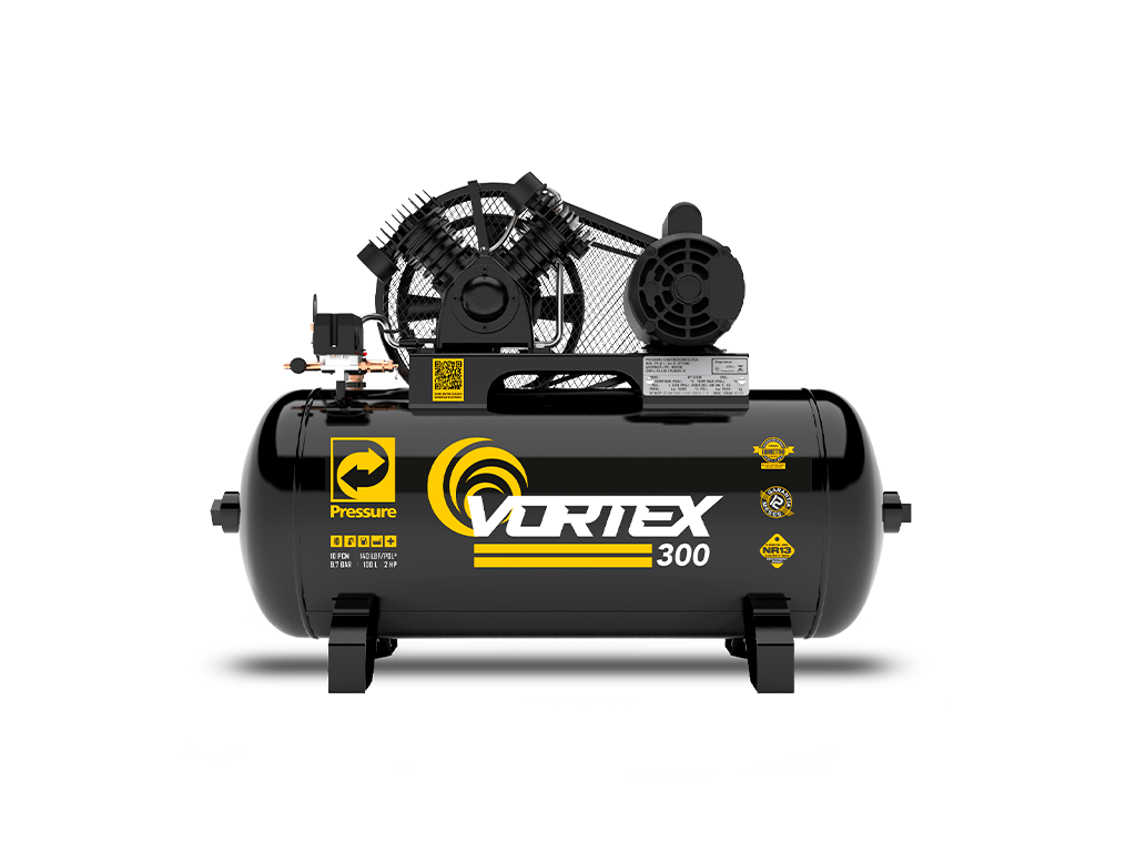 Compressor de Ar 10pcm/100L 2cv Monofásico VORTEX 300 - PRESSURE