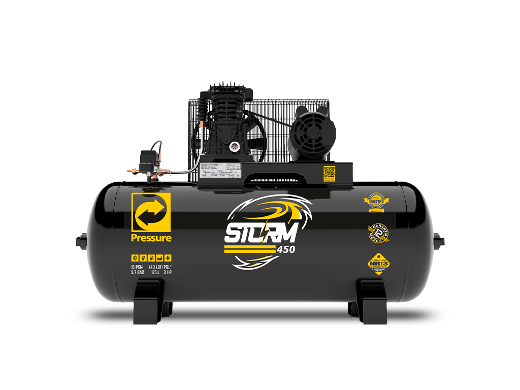 Compressor de Ar 15pcm/175L 3cv Monofásico STORM 450 - PRESSURE