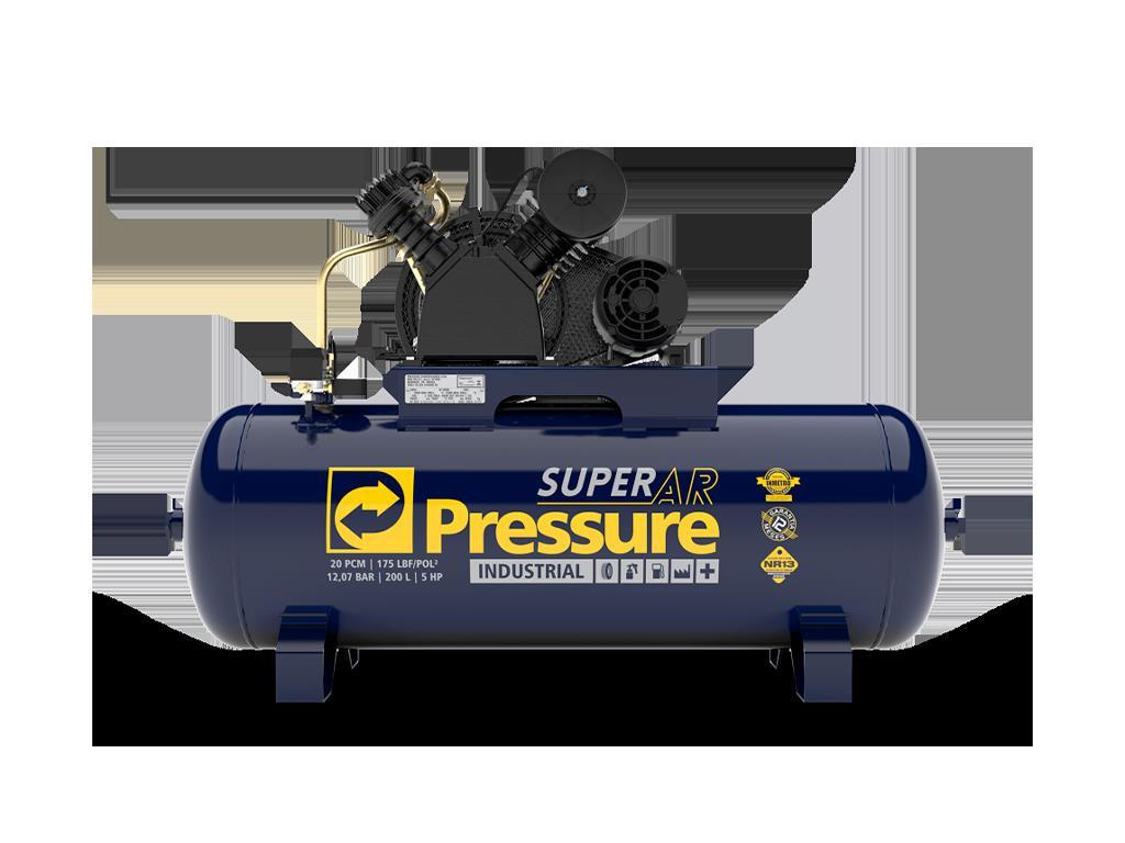Compressor de Ar 20/200L 5cv 175psi SUPER AR 20/200V - PRESSURE