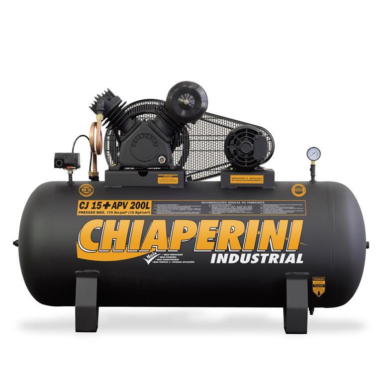 Compressor de ar alta pressão 15 pcm 200 litros 3HP Monofásico IP21 CJ 15+ APV 200L - Chiaperini