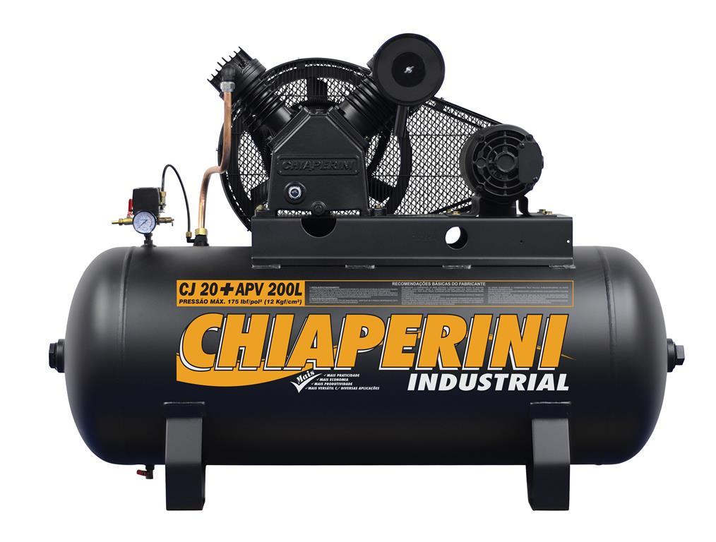Compressor de ar alta pressão 20 pcm 200 litros 5HP Trifásico IP21 CJ 20+ APV 200L - Chiaperini
