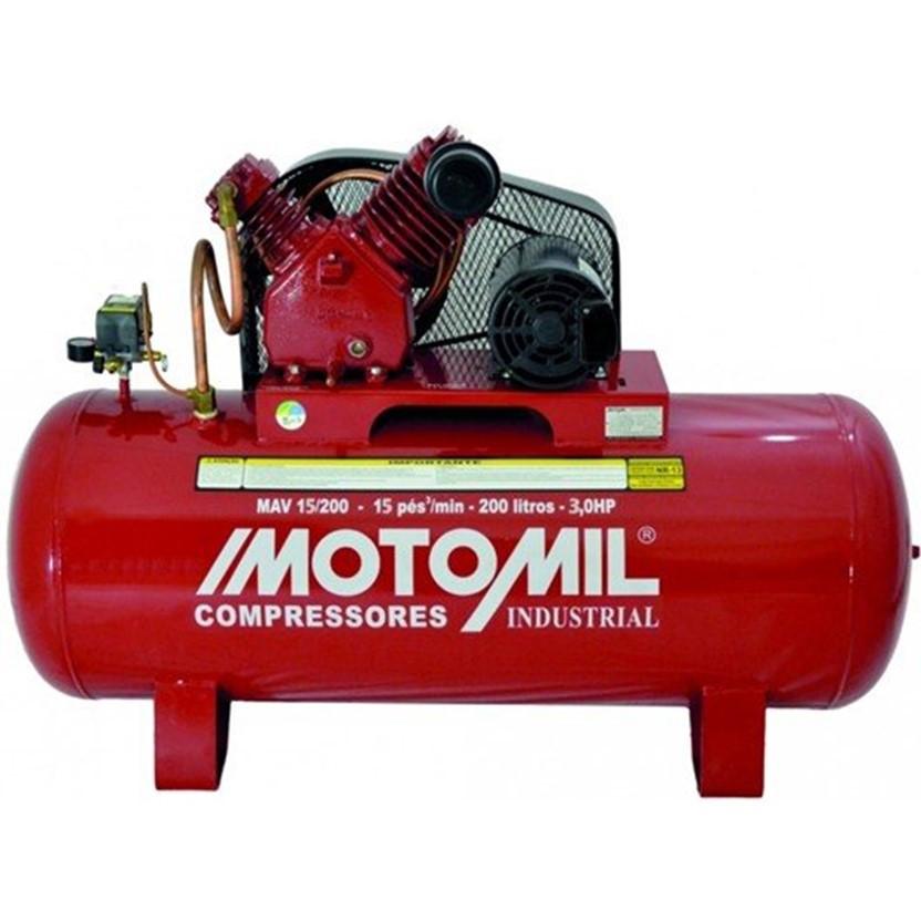 Compressor de Ar Industrial 175lbs 3HP Monofásico Bivolt MAV-15/200 - Motomil