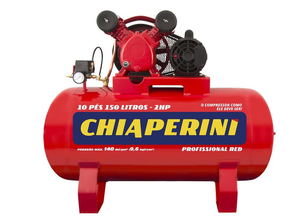 Compressor de ar média pressão 10 pcm 150 litros Monofásico (aberto) IP21 10/150 RED - Chiaperini