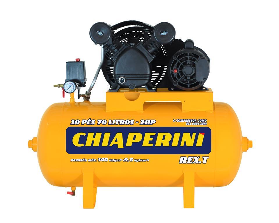 Compressor de ar média pressão 10 pcm 70 litros Monofásico IP21 10 PÉS 70L REX.T - Chiaperini