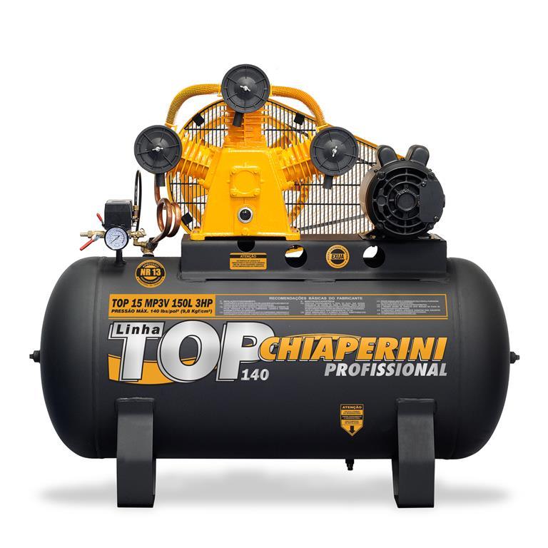 Compressor de ar média pressão 15 pcm 150 litros Monofásico IP21 TOP 15 MP3V - Chiaperini