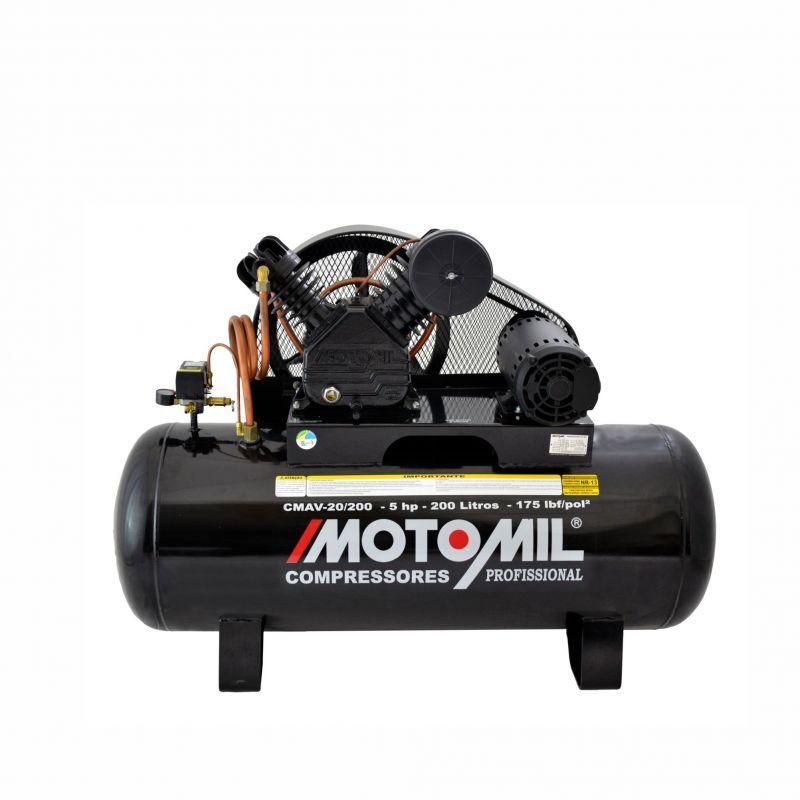 Compressor de Ar 175lbs 5HP 220/380V CMAV-20/200 - Motomil
