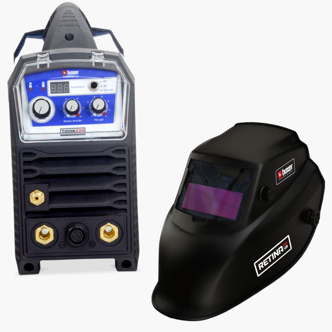 Inversora de Solda 220A DC 220V Mono TIGON220 + Máscara de Solda com Escurecimento Automático e Filtro Regulável RETINA 2.0 VR - Boxer Soldas