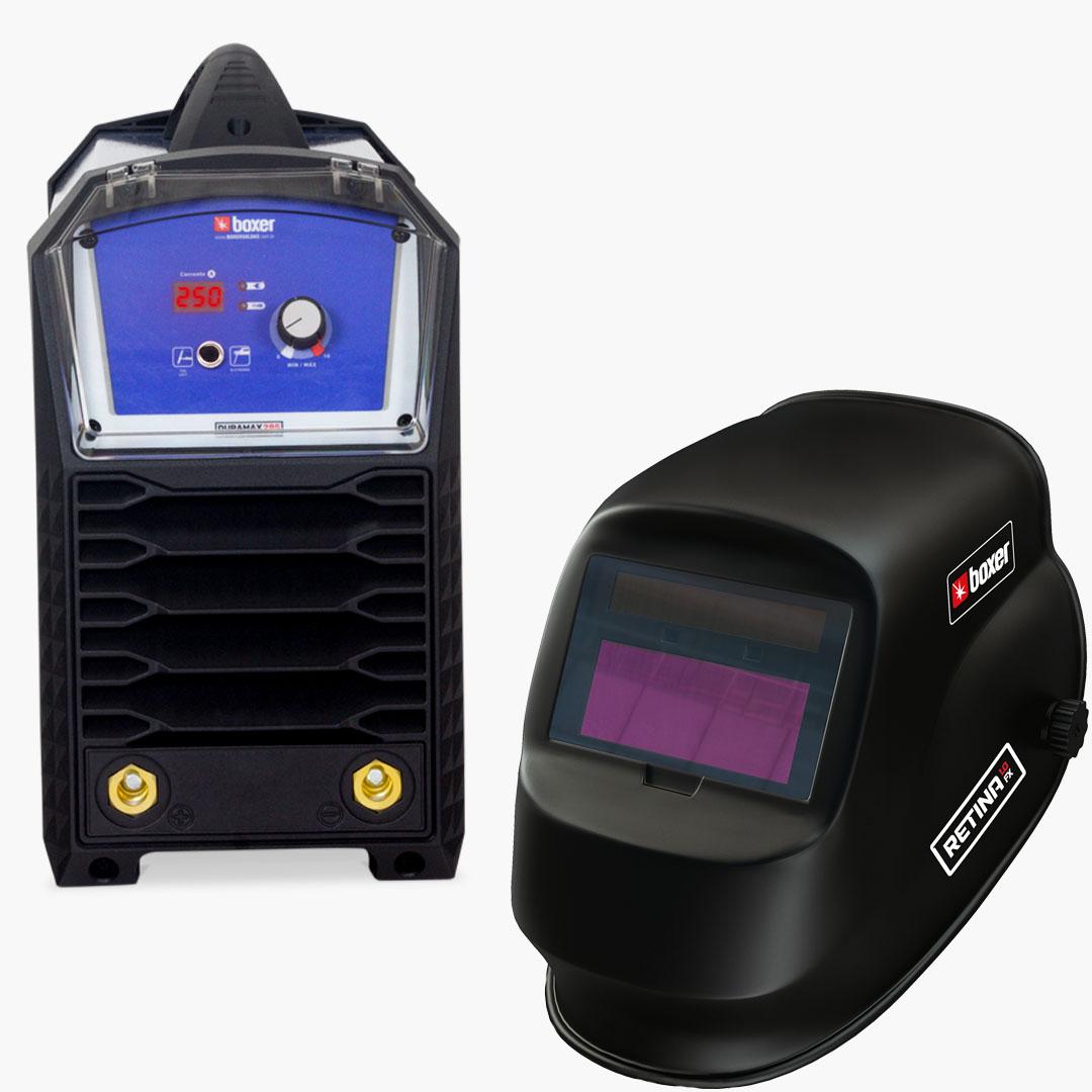 Inversora de Solda DURAMAX 285 220V + Máscara de Solda com Escurecimento Automático e Filtro Fixo RETINA 1.0 FX - Boxer Soldas