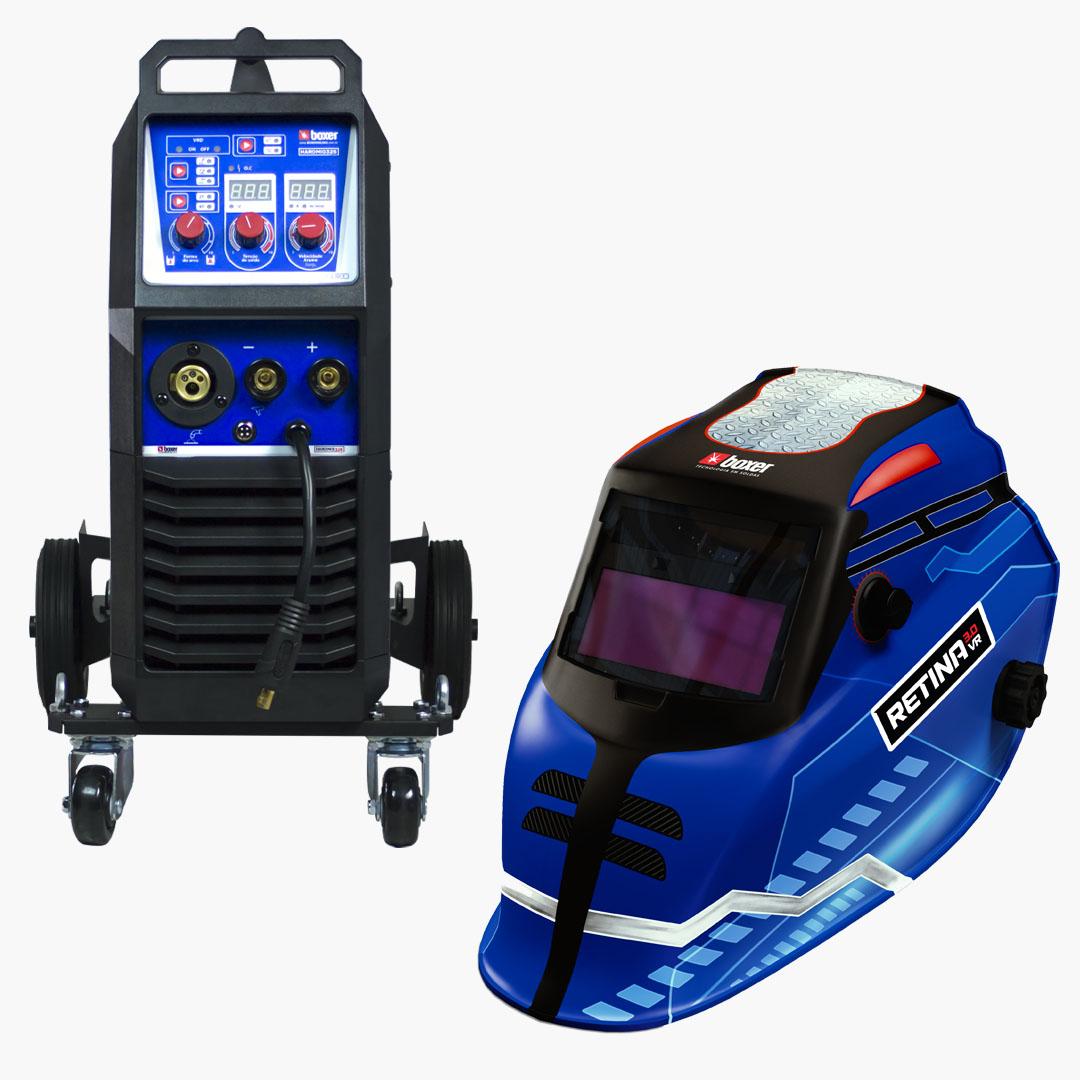 Inversora de Solda Hardmig 325 Flex 220v Trifásica + Máscara de Solda com Escurecimento Automático e Filtro Regulável RETINA 3.0 VR - Boxer Soldas