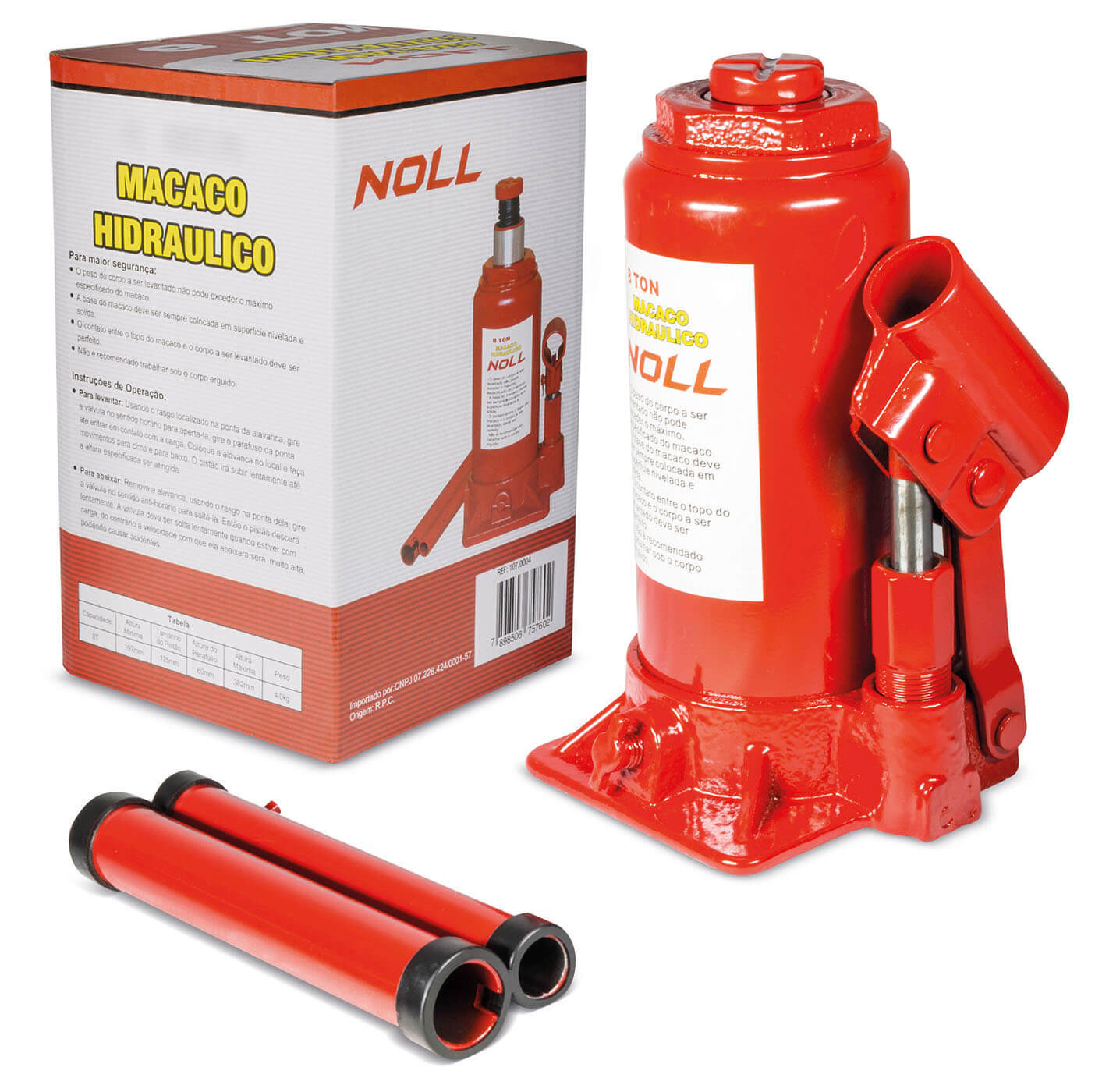 Macaco hidráulico tipo garrafa 6 toneladas - Noll