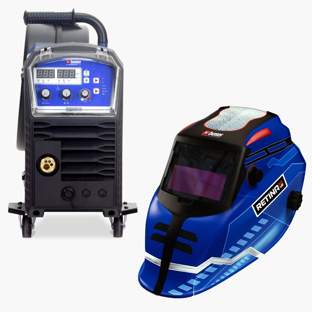 Máquina de Solda 450A 220V HARDMIG 450 + Máscara de Solda com Escurecimento Automático e Filtro Regulável RETINA 3.0 VR - Boxer Soldas
