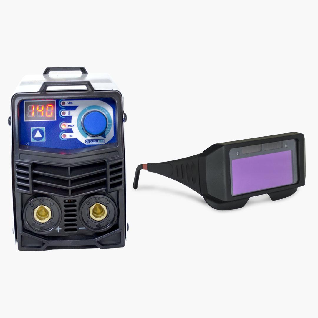 Máquina de Solda Inversora 140A 220V TOUCH 145 + Óculos de Proteção c/ Escurecimento Automático - Boxer