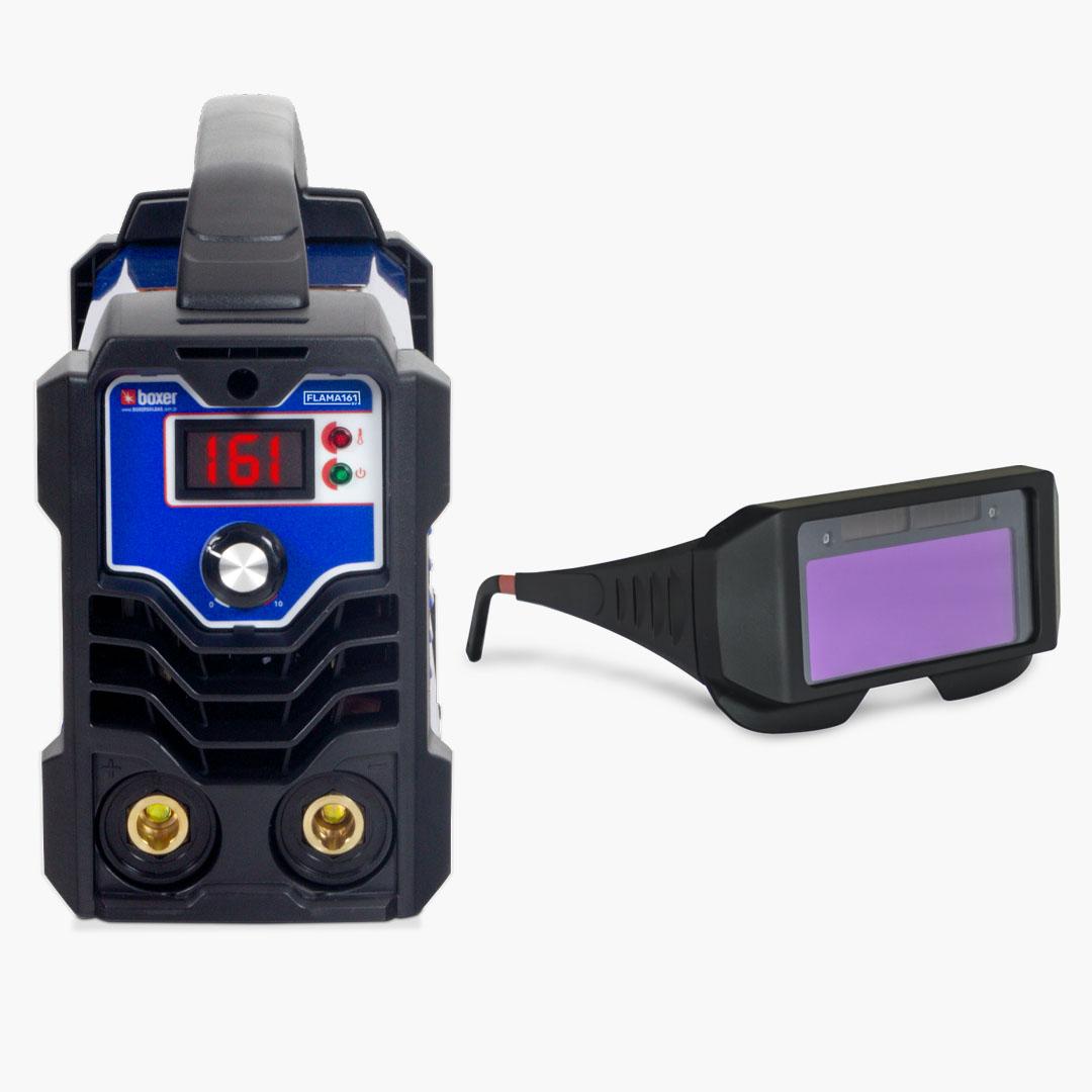 Máquina de Solda Inversora 160A FLAMA 161 BV + Óculos de Proteção c/ Escurecimento Automático - Boxer