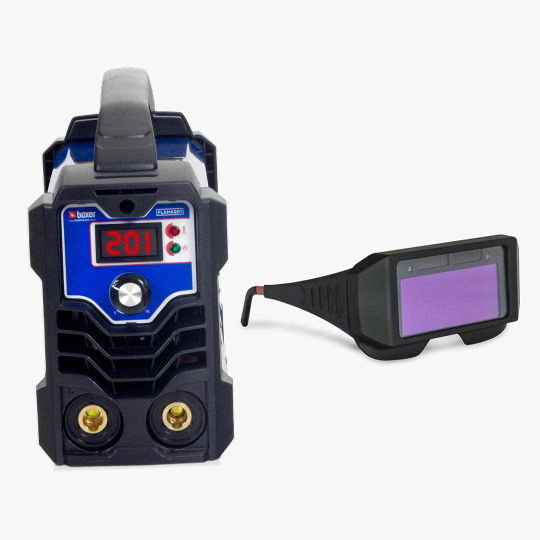 Máquina de Solda Inversora 200A FLAMA 201 BV + Óculos de Proteção c/ Escurecimento Automático - Boxer