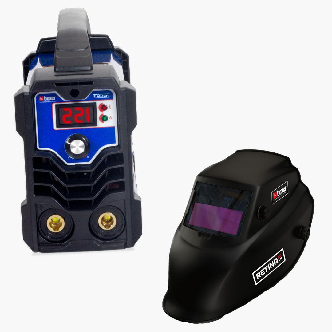 Máquina de Solda Inversora 220A 220V FLAMA 221 + Máscara de Solda com Escurecimento Automático e Filtro Regulável RETINA 2.0 VR - Boxer Soldas