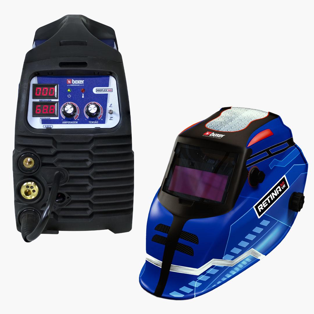 Máquina de Solda MIGFLEX 160 BV Multi-processo 160A Bivolt + Máscara de Solda com Escurecimento Automático e Filtro Regulável RETINA 3.0 VR - Boxer Soldas