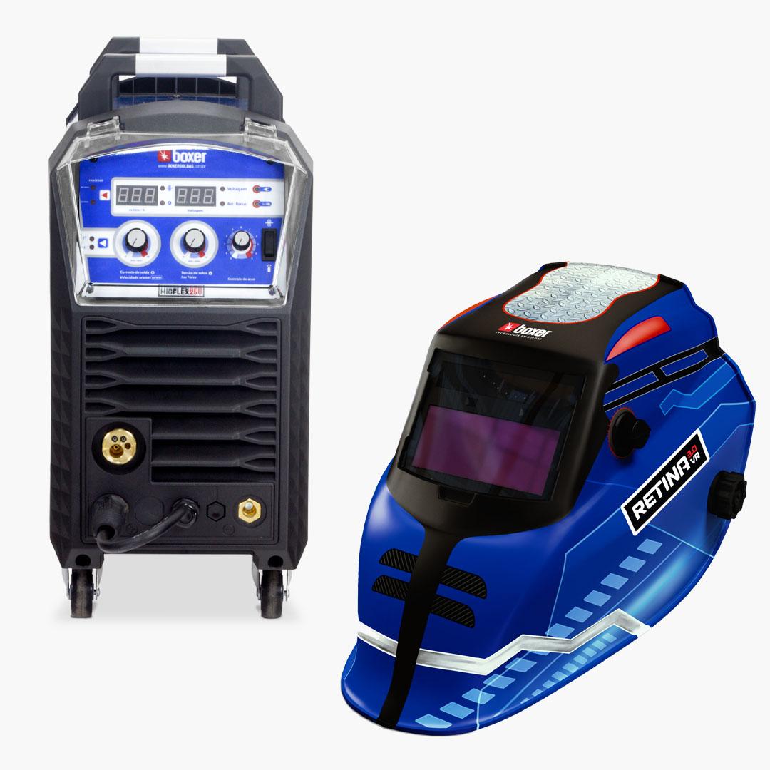 Máquina de Solda MIGFLEX 250 Multi-processo 220A 220V + Máscara de Solda com Escurecimento Automático e Filtro Regulável RETINA 3.0 VR - Boxer Soldas