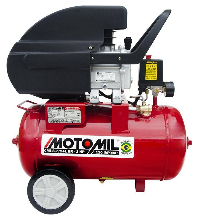 Motocompressor de Ar 120lbs 2HP Bivolt CMI-8,7/24BR - Motomil