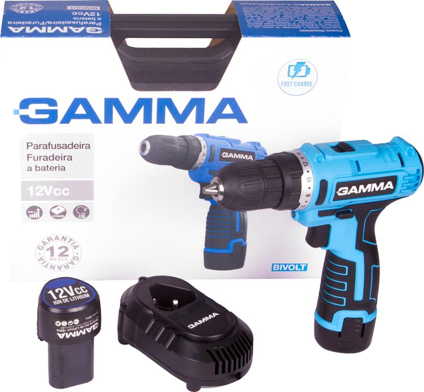 Parafusadeira/Furadeira à bateria 12Vcc com maleta, carregador e 2 baterias G12101/BR - Gamma