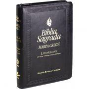 Bíblia Sagrada Com Harpa Cristã Letra Gigante e Zíper