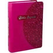 Bíblia Sagrada NTLH com Letra Grande - Pink Folhas