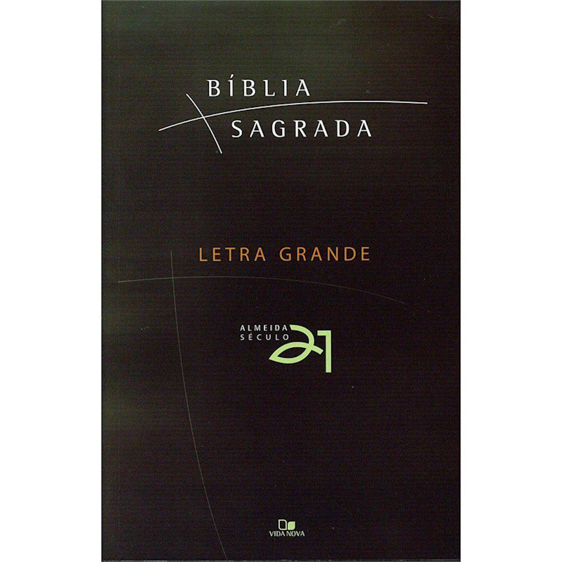 Bíblia Almeida Século 21 Letra Grande Brochura - Verde com Capa Cristal / Sobrecapa
