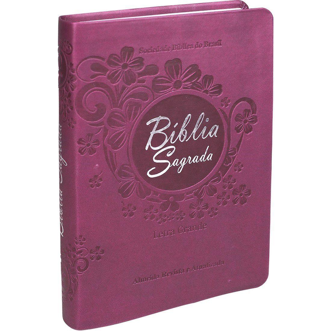 Bíblia Sagrada RA Letra Grande com Índice - Vinho