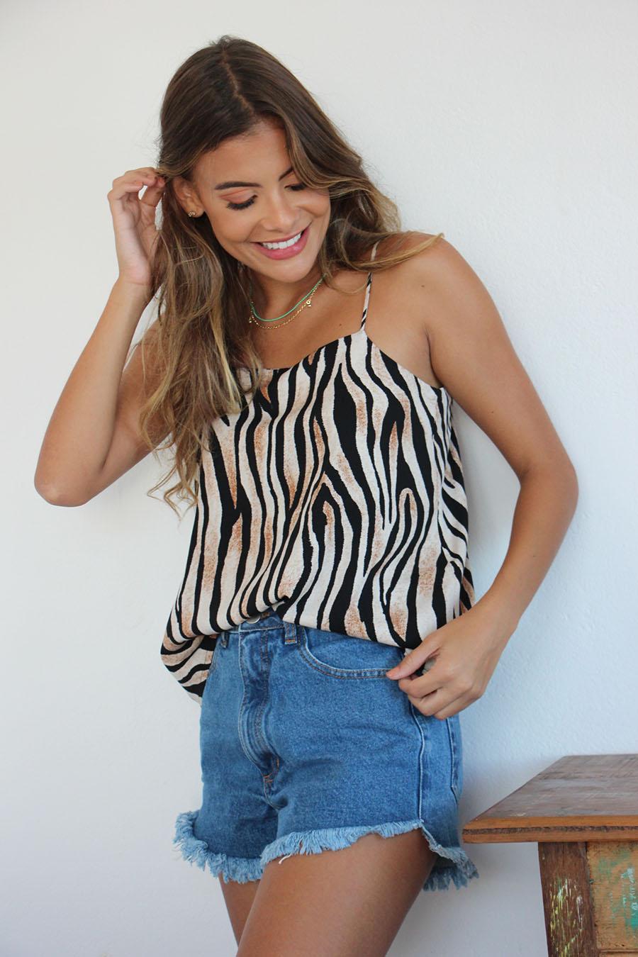 Blusa jasmine estampa zebra