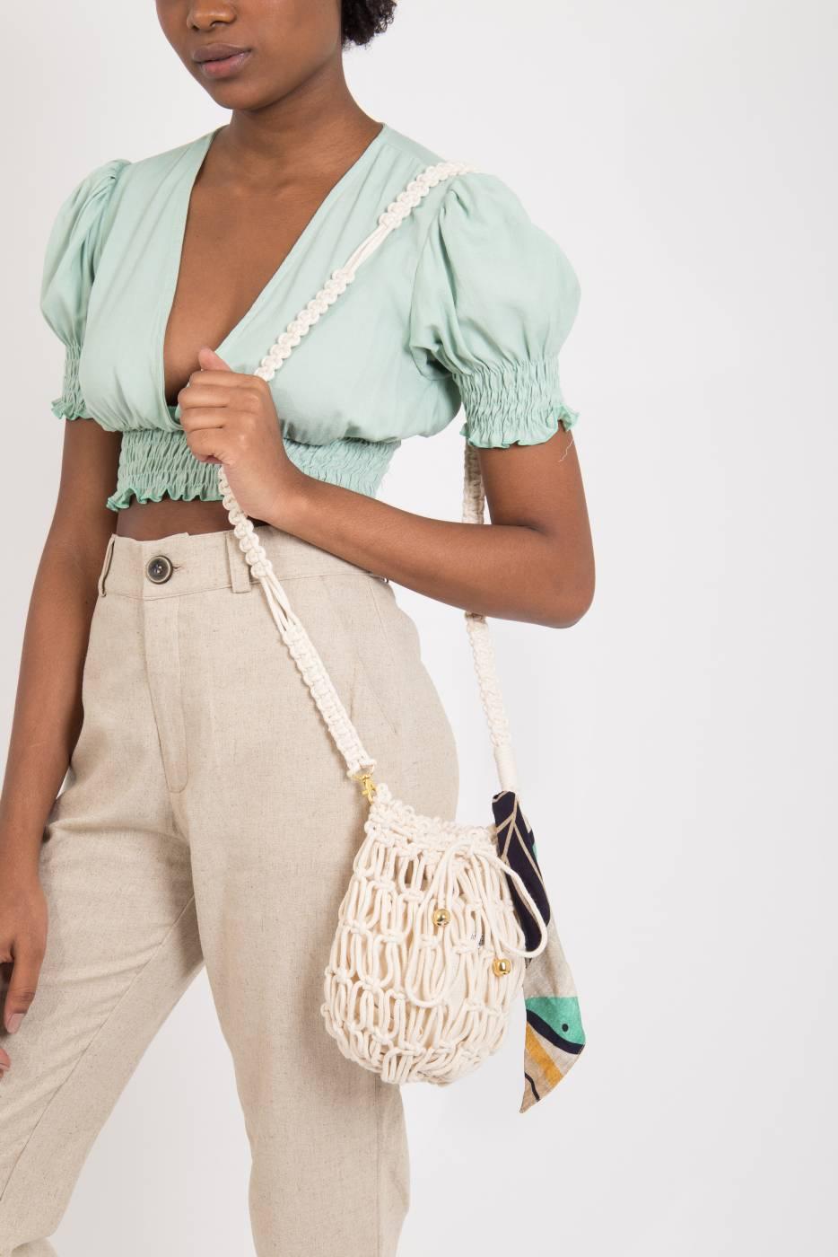 Bolsa saco macramê