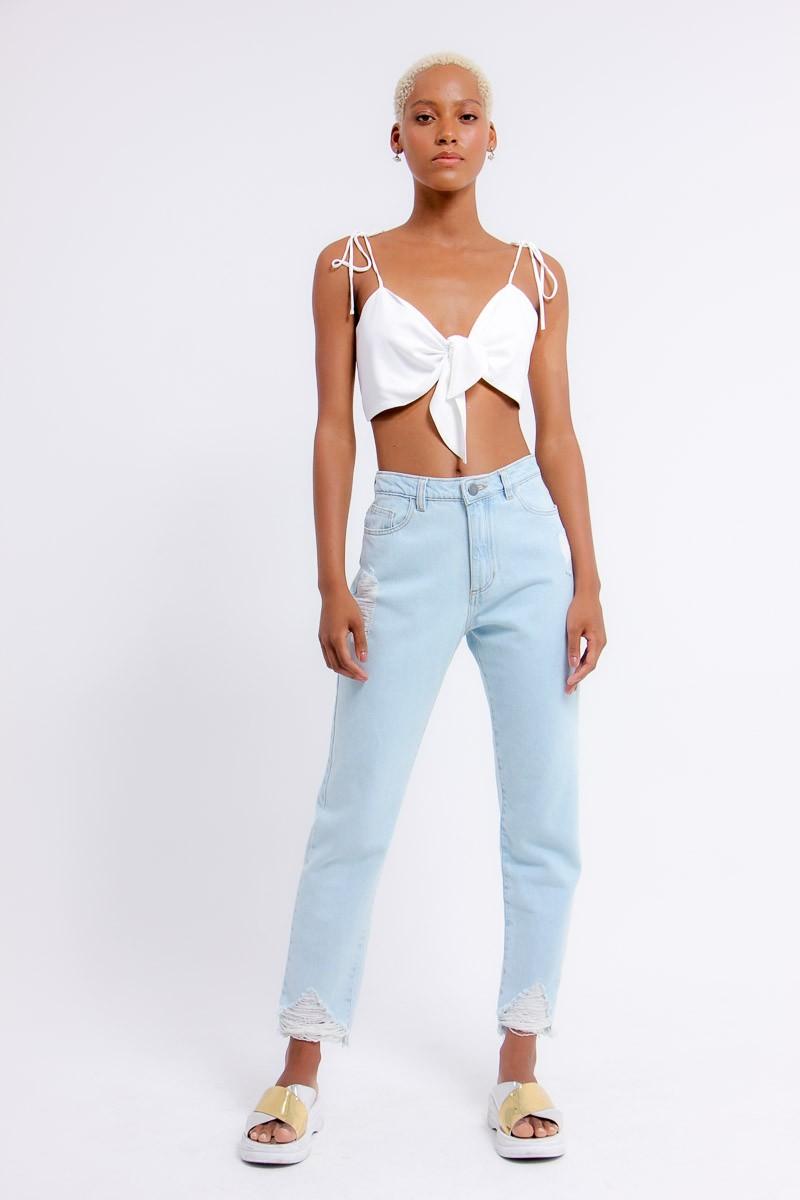 Calça jeans barra destroyed