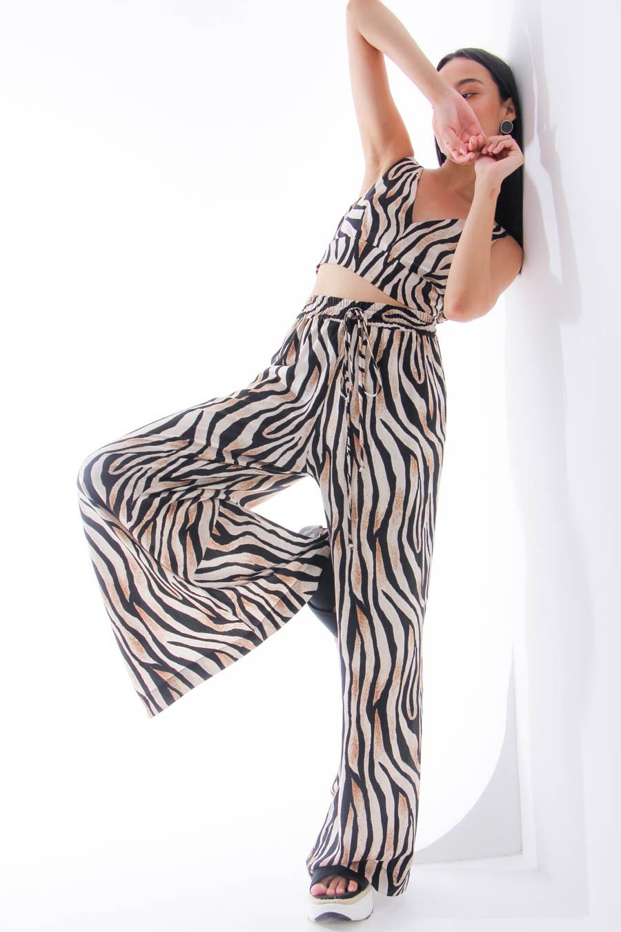 Calça pantalona zebra
