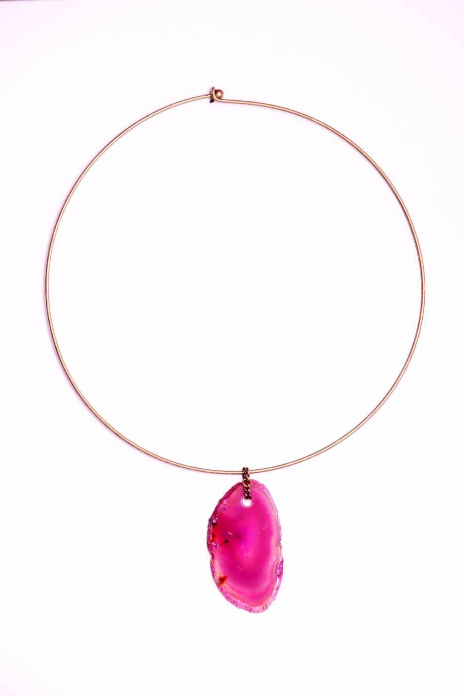 Choker ágata rosa