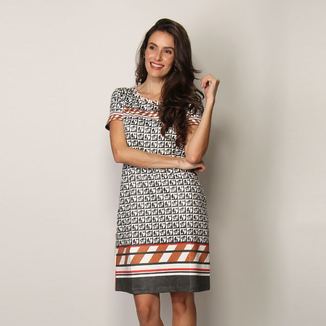 VESTIDO ESTAMPA GEOMETRIC BASIC