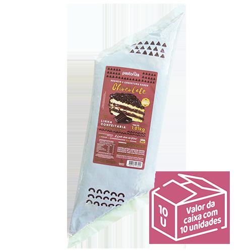 Recheio e Cobertura Sabor Chocolate 1,01 kg<br> - Caixa com 10 bisnagas - 10,1 kg