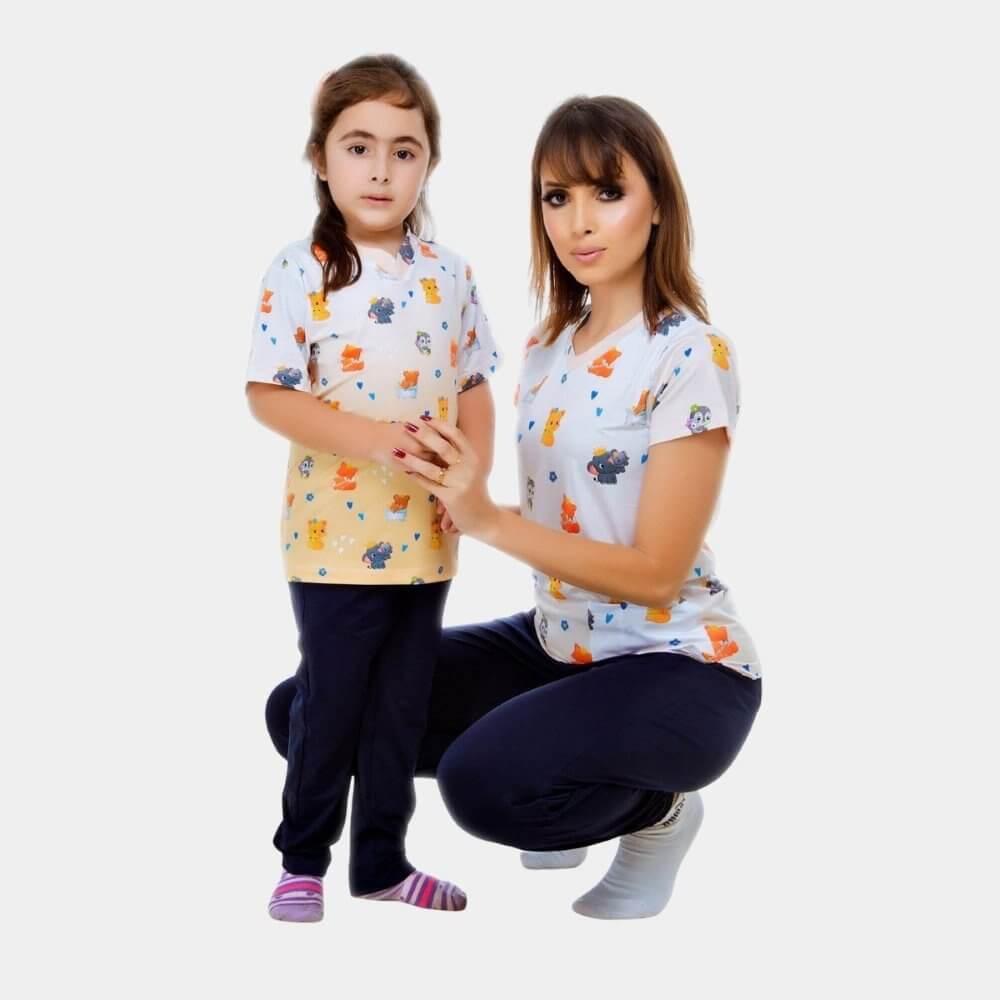 KIT Scrub Conjunto Amor de Mãe | Adulto + Infantil