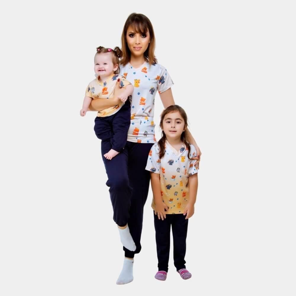 KIT Scrub Conjunto Amor de Mãe   Adulto + Infantil