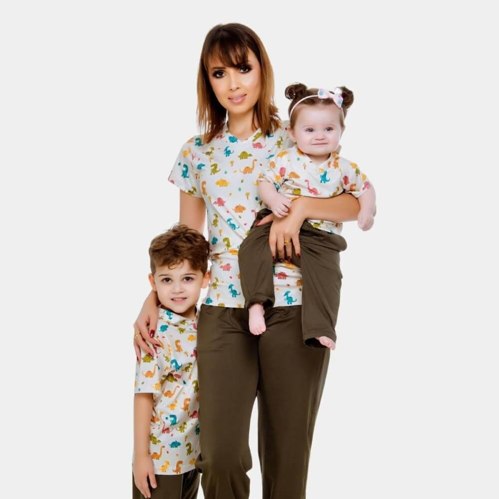 KIT Scrub Conjunto Dinossauro | Adulto + Infantil