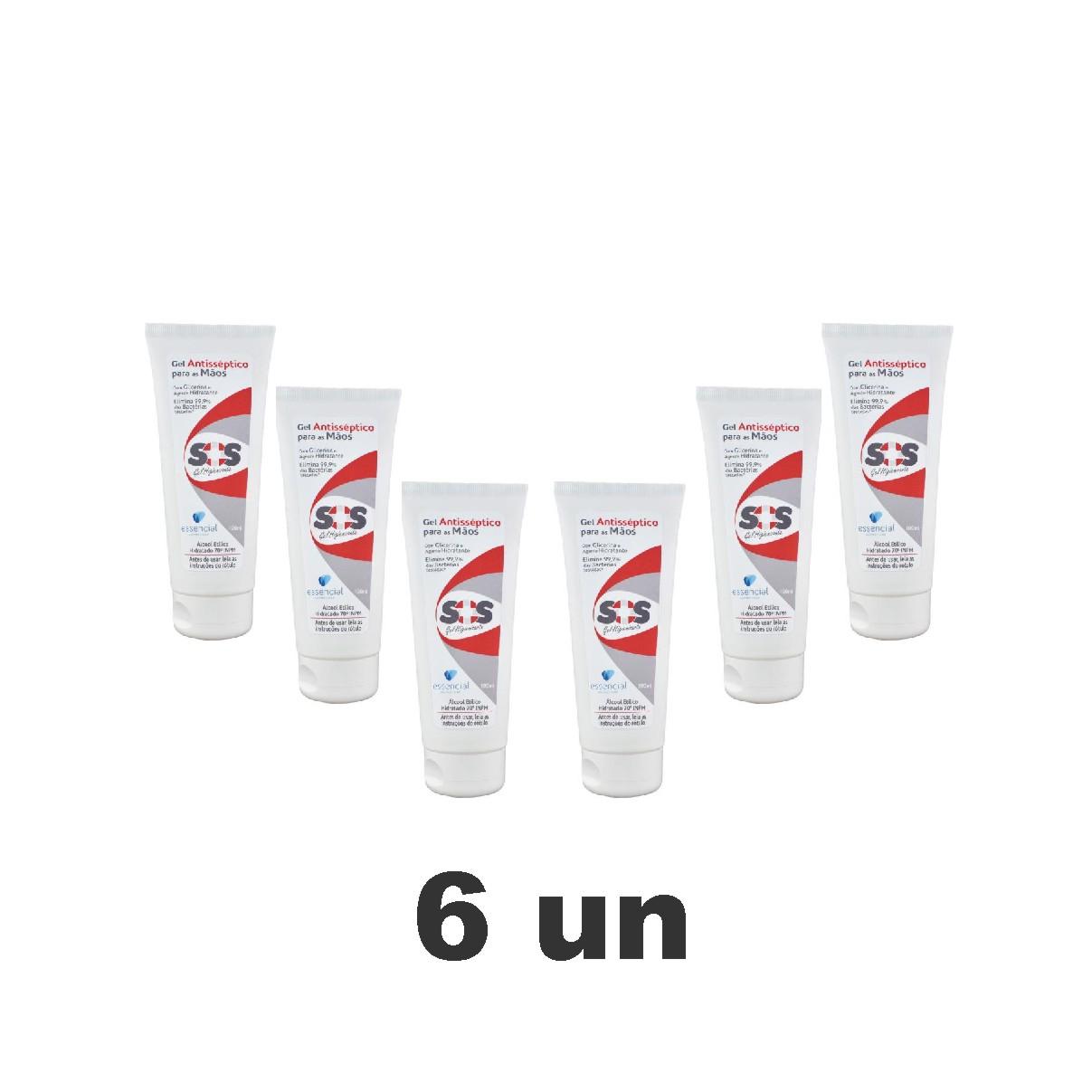 Kit com 6 Álcool Em Gel 70% Antisséptico para as Mãos 100ml - Essencial
