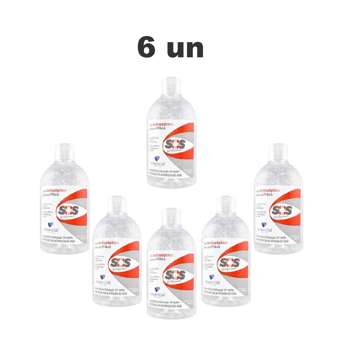Kit com 6 Álcool Em Gel 70% Antisséptico para as Mãos 500ml C - Essencial