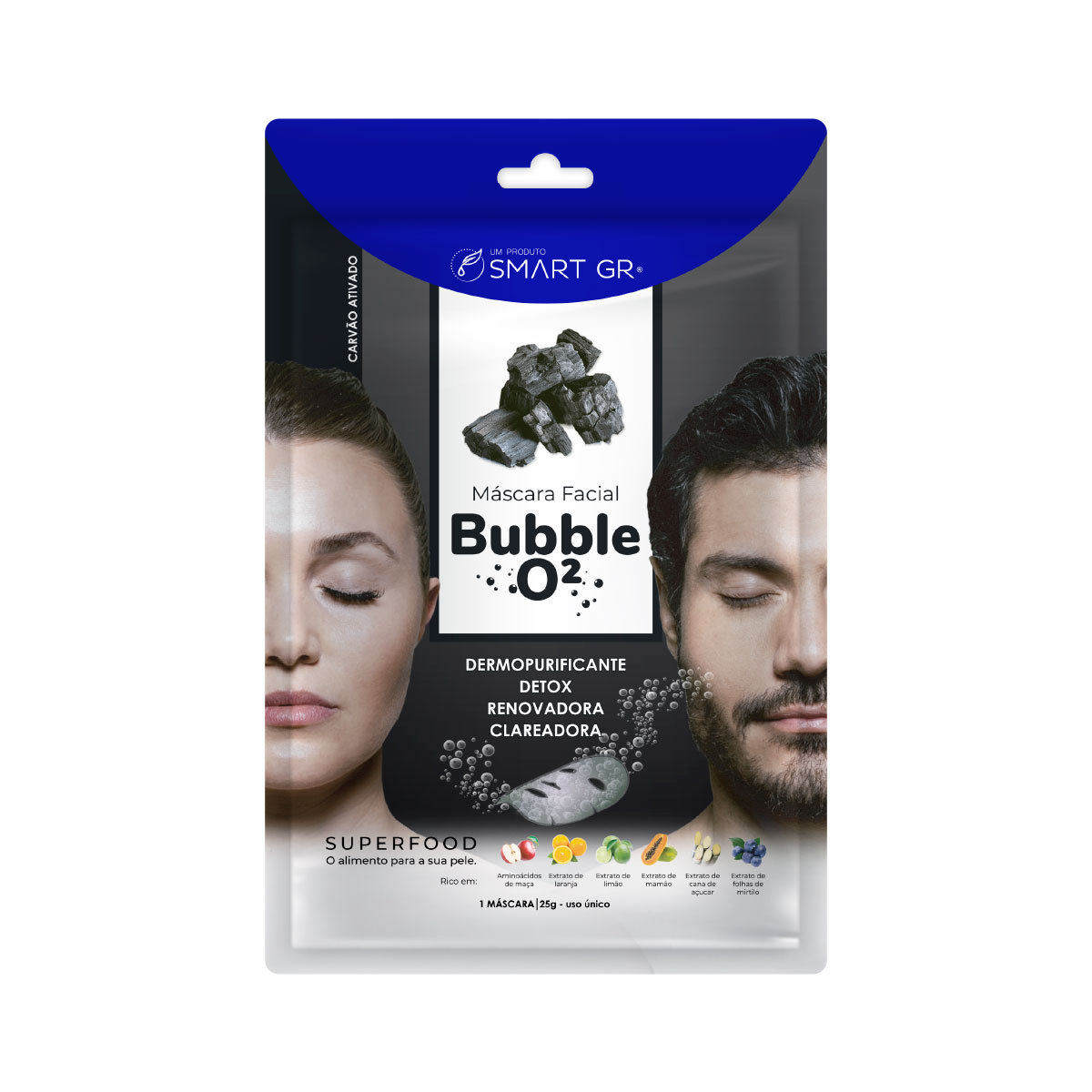 Máscara Facial Superfood Bubble O² Carvão Ativado - Smart GR