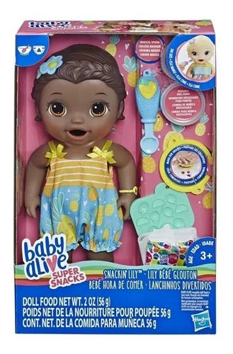 Boneca Baby Alive Lanchinhos Divertidos Negra Hasbro