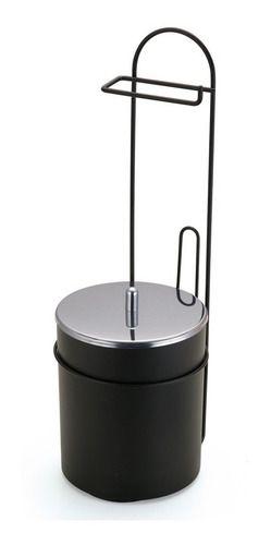 Suporte De Chão Para Papel Higiênico Com Lixeira Black Arthi 2518