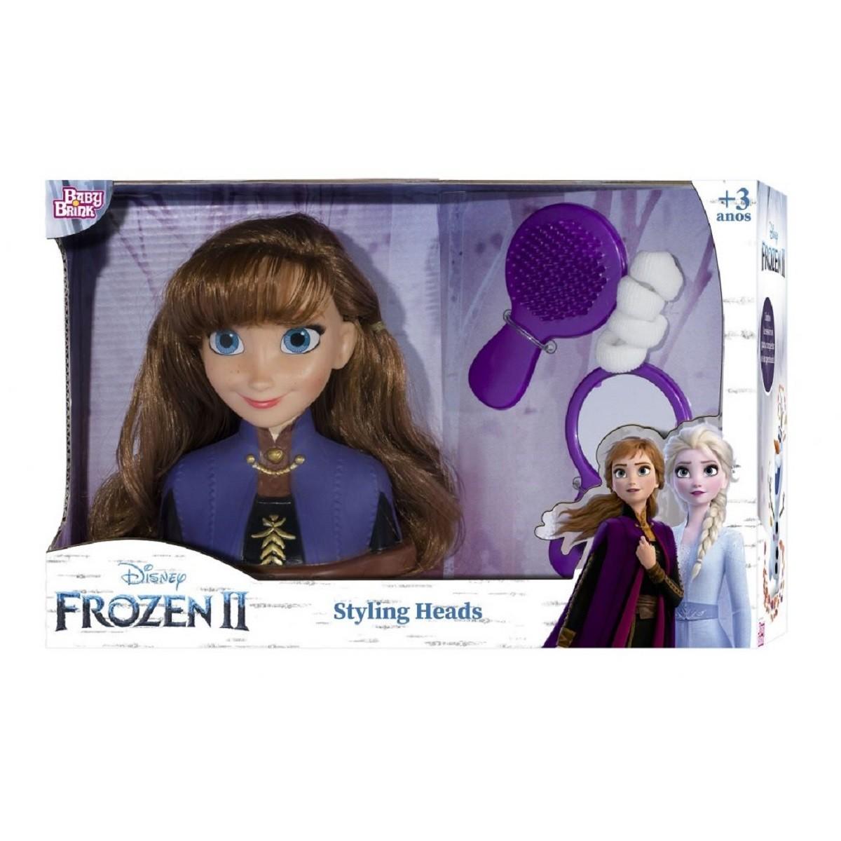 Brinquedo Infantil ANNA FROZEN 2 BONECA BUSTO PARA PENTEAR