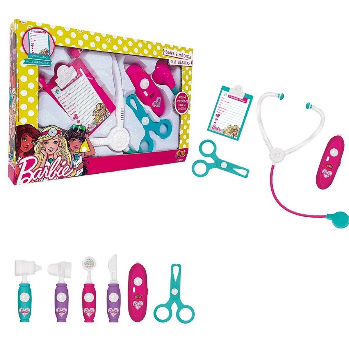 Barbie Médica Kit Médico Básico 4 Acessórios Fun
