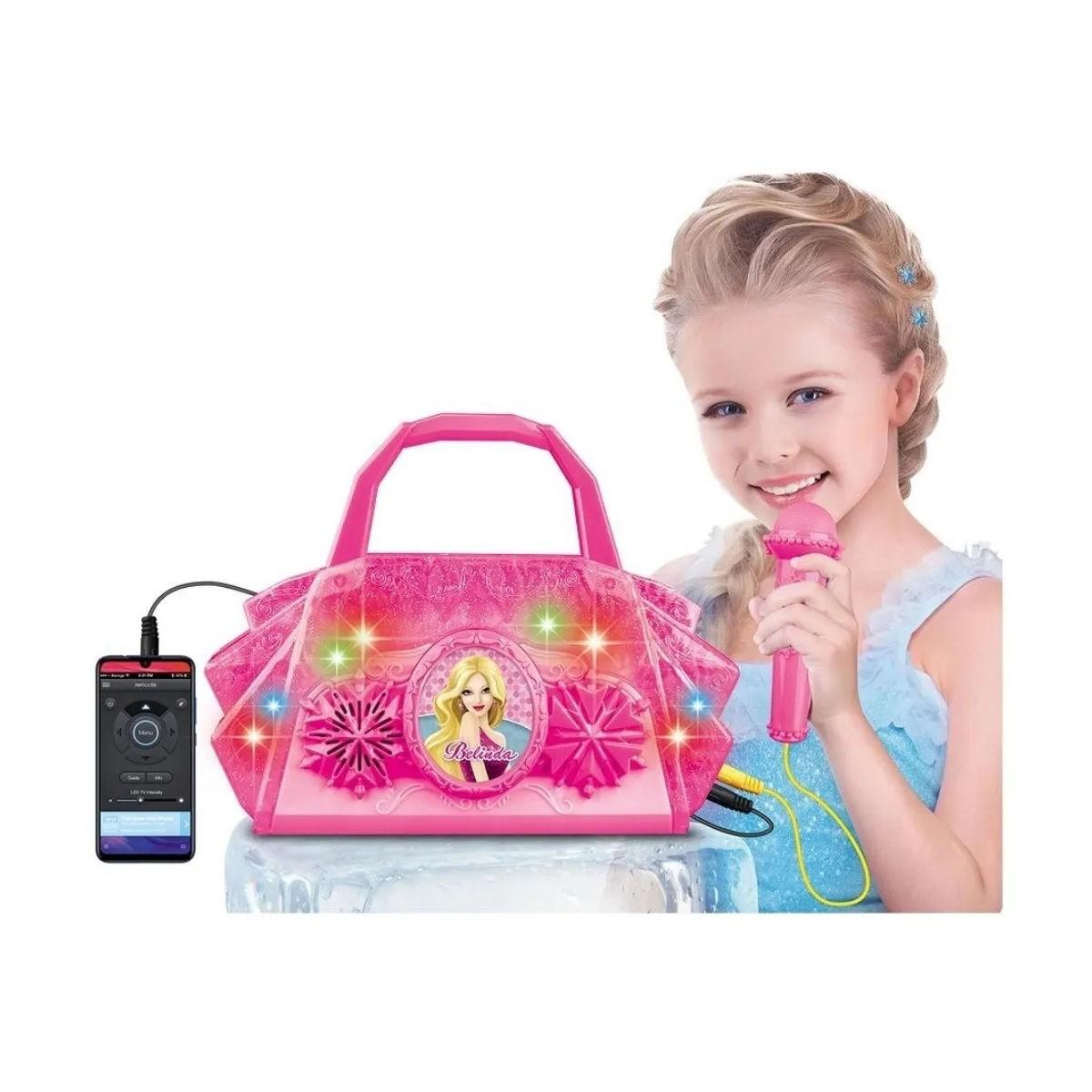Bolsa Musical Infantil Belinda C/ Microfone Luz MP3 Cabo P2