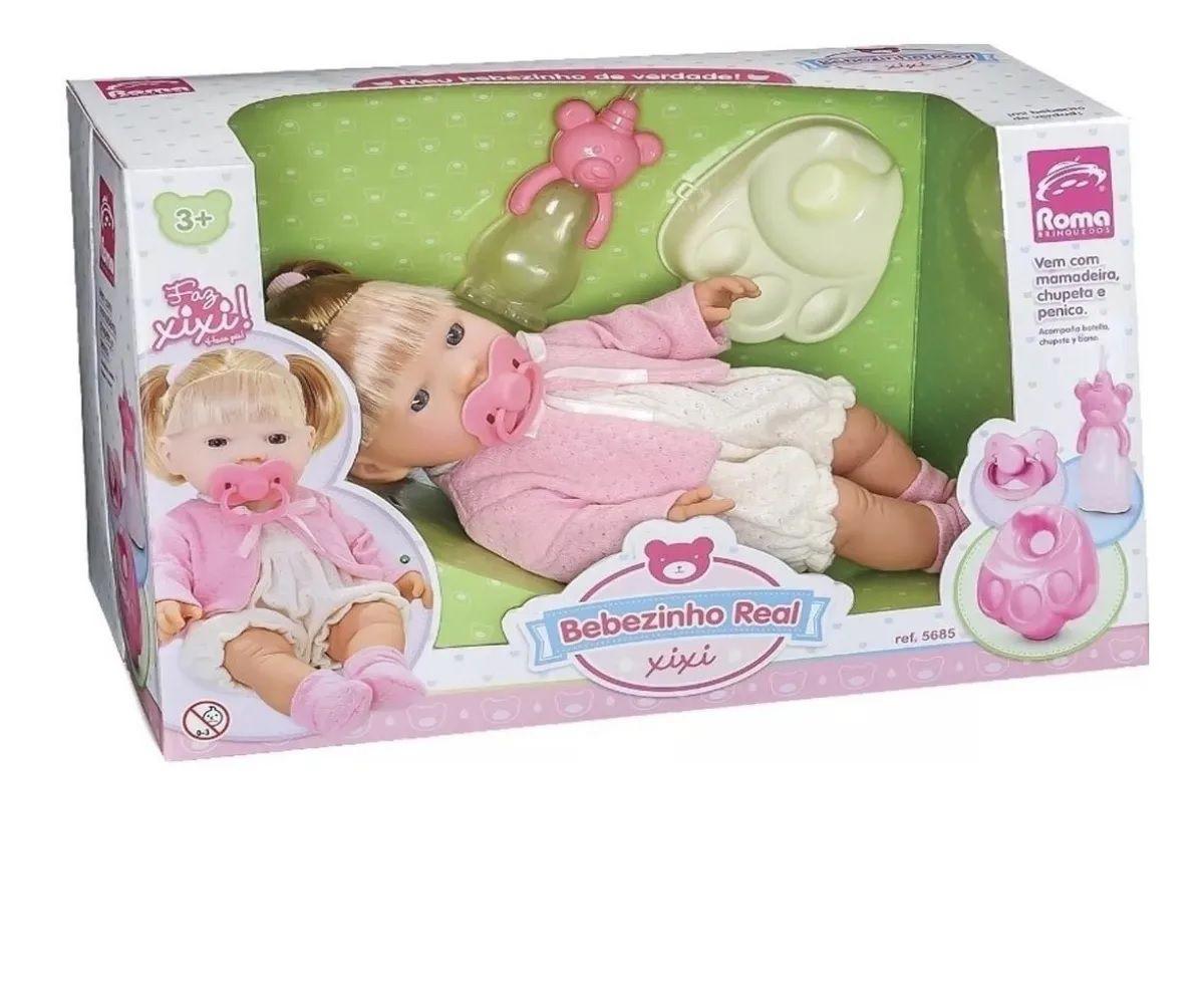 Boneca Bebezinho Real Faz Xixi Menina Roma Brinquedos 5685