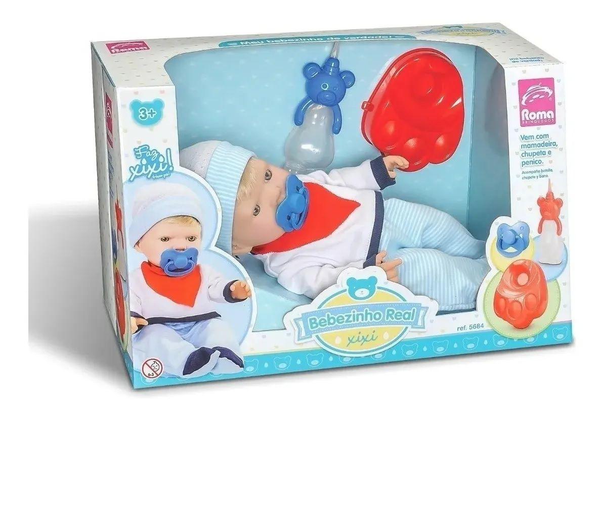 Boneco Bebezinho Real Faz Xixi Menino Roma Brinquedos  5684